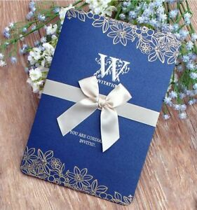 Details About Wedding Invitation Card With Ribbon Pearly Paper Amazing Design Folding Supplies
