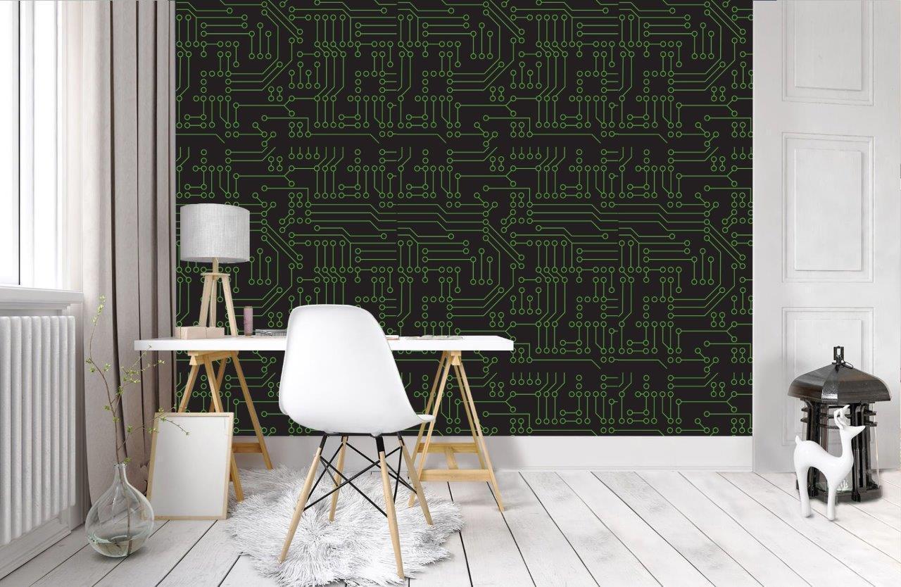 Circuit Board Electronics Wallpaper Woven Self-Adhesive Wall Art Mural Decal T28