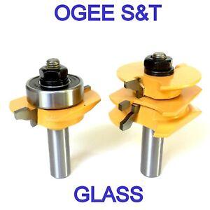 """2pc 1/2""""SH Glass Door Ogee R&S Router Bit Set S"""