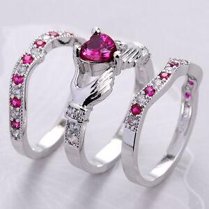 3pcs Women 925 Silver Ruby Celtic Irish Claddagh Ring Set
