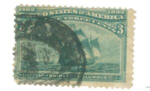 US-232-3c-STAMP-FLAGSHIP-OF-COLUMBUS-CANCELED-issued-1893-COLOR-GREEN