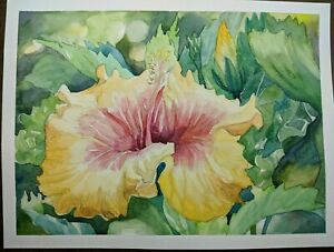 Beautiful-Watercolor-Painting-12-034-x-9-034-Hibiscus-Flower