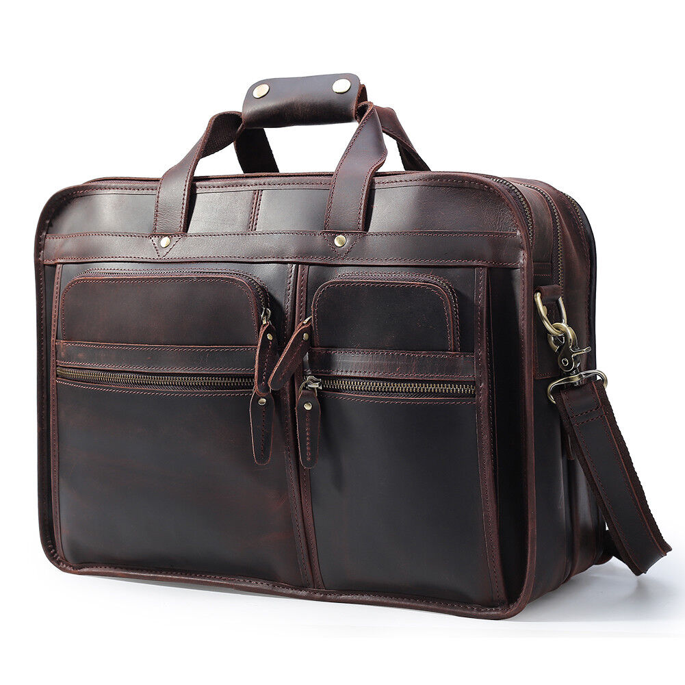 76430595914 Men Vintage Leather Travel Messenger Bag for 17