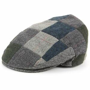 Flat Cap Hat Patchwork Hawkins Cap BROWN BLUE Peaked Sports S P Golf ... bbd9644886dc