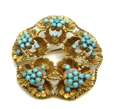 Fine Pins & Brooches Jewelry & Watches Rational Vintage Brooch 50's Gold Solid 18 Ct Flowers Made In Italy
