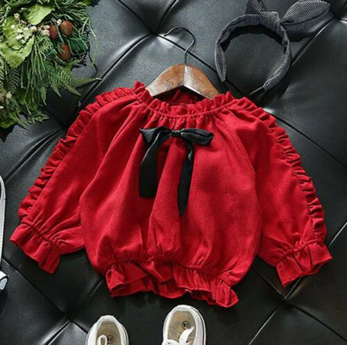 Solid Toddler Kids Girl Bowknot Ruffled Long Sleeve Cropped Tops Blouses Shirt