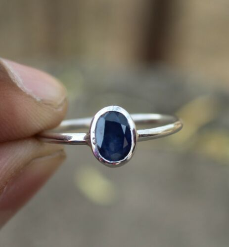 NATURAL BLUE SAPPHIRE 925 STERLING SILVER OVAL CUT RING JEWELRY SIZE US 3-13