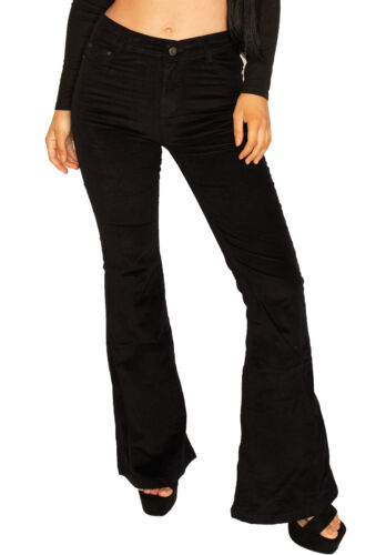 New Womens Dark Blue Cord Flared Trousers Stretch Bellbottom Corduroy Flares