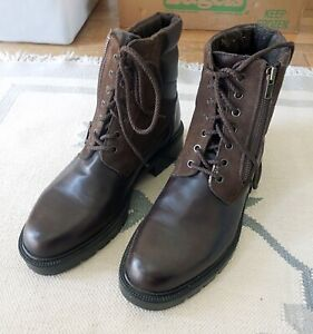 Vintage Orvis Mens Lined Zip & LaceUp Brown Leather Hunting Boots 9E Never Worn