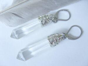 Mode Bergkristall 6 Eck Pendel Ohrringe Ohrhänger Earrings m.Edelstahl Brisuren