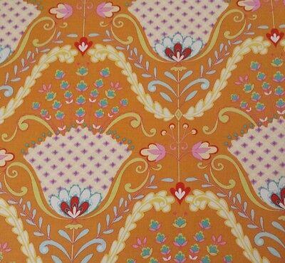 Little Azalea BTY Dena Designs FreeSpirit Hyacinth Floral Damask Orange