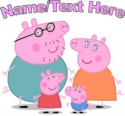 1 LARGE PERSONALISED PEPPA PIG & FAMILY IRON ON T SHIRT TRANSFERS LIGHT FABRICS