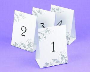 1 40 tent style flourish black white gray wedding table numbers