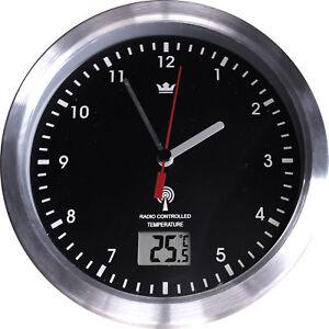 Das Bild Wird Geladen Funkuhr Wanduhr Badezimmer  Saugnapf Badezimmeruhr Uhrzeit Temperatur Metall