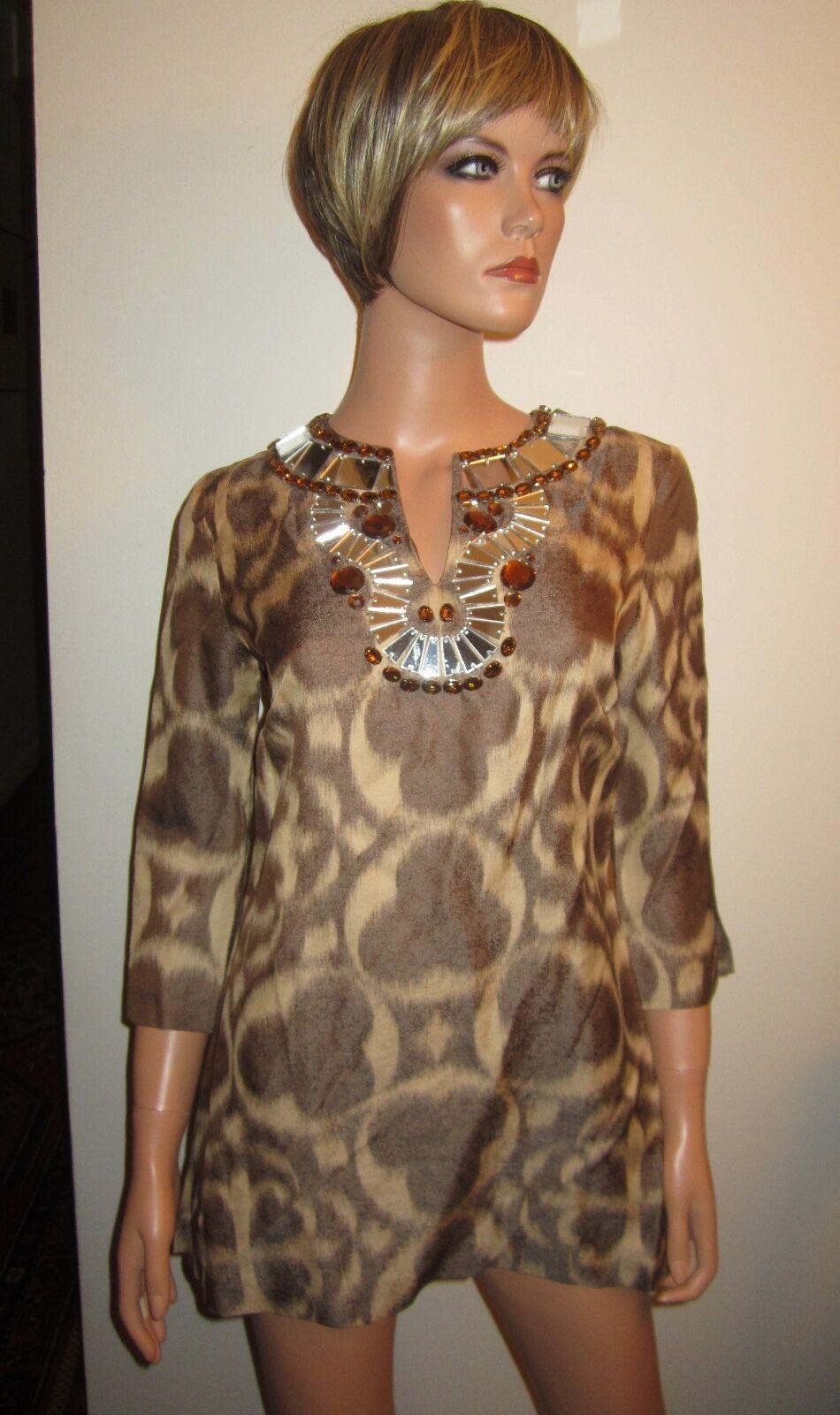 New TORY BURCH 4 Silk Blend Blouse Tunic S Jewel Mirror Beaded Boho Amber braun