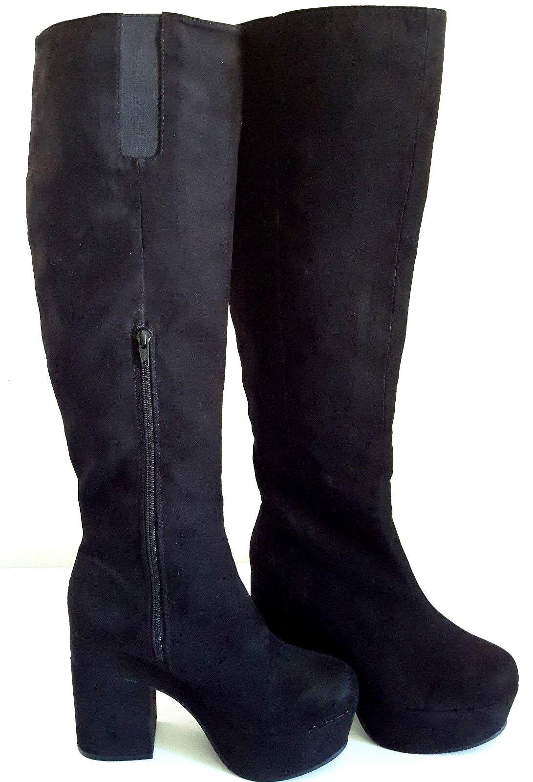 H&m divisé – Femme Bloc Talon Daim-Like noir sur-le-Genou bottes-Taille  7