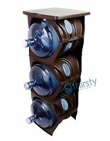 Brown Water Bottle Holder Stand 3 & 5 Gallon Rack 3 Tier Stack Table Counter