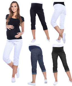 e5d5fe624509e Image is loading Maternity-Cropped-Trousers-Jeans-Shorts-Denim-Over-Bump-