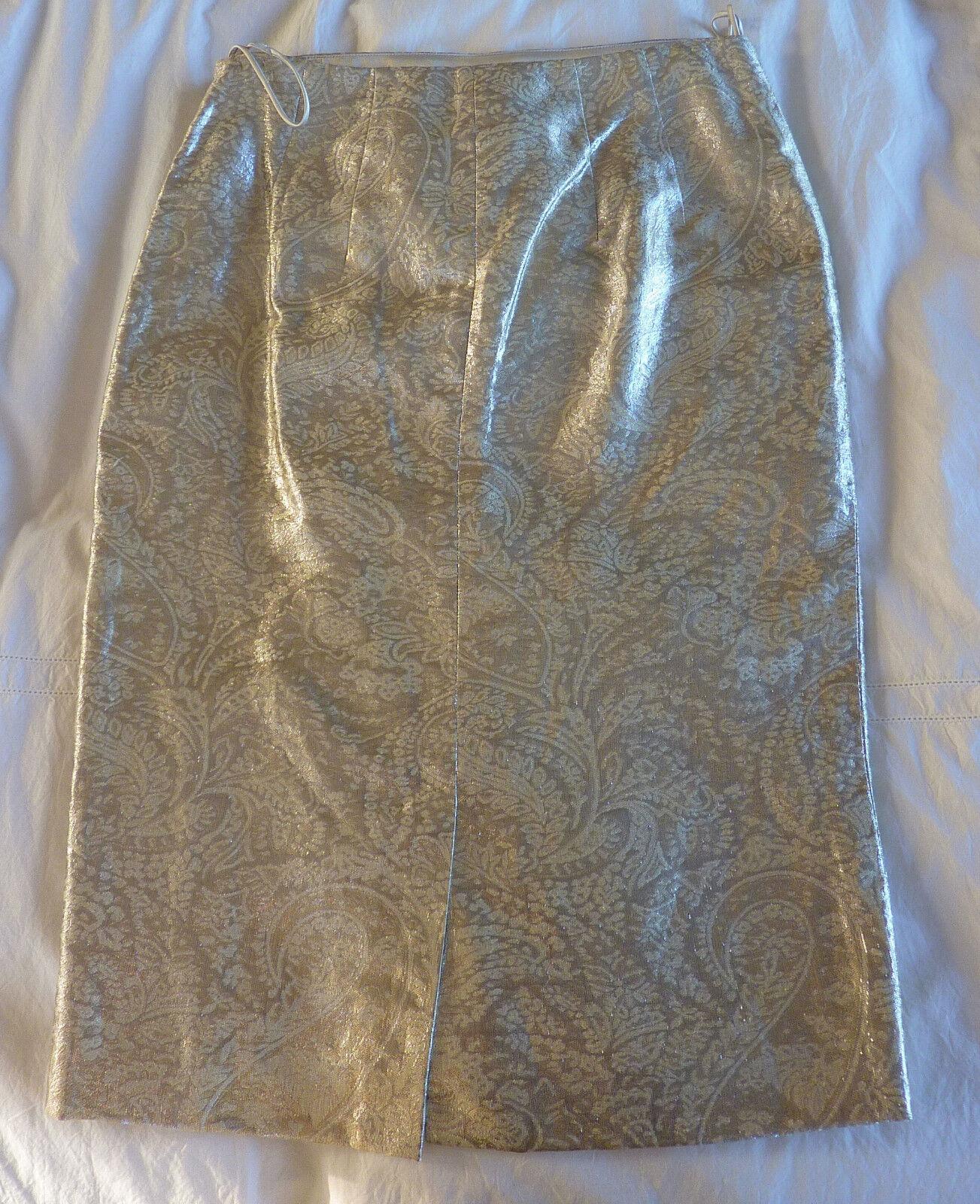 RALPH LAUREN Collection NWT Silber Metallic Knee-Length Skirt, Retail Price  898
