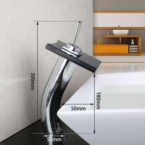 Modern High-brightness Glass Bathroom Basin Sink Waterfall Faucet Mixer Tap e1