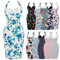 Womens Floral/Polka Dot Retro Vintage 50s Hips-Wrapped Party Wiggle Pencil Dress