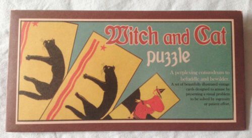 NEW RETRO LATERAL THINKING PUZZLE WITCH AND CAT VINTAGE STYLE HOM