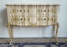 Superbe commode sauteuse Louis XV Vénitienne en bois laqué et polychrome