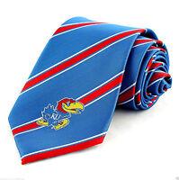 Kansas Jayhawks Mens Necktie College University Logo Striped Blue Neck Tie