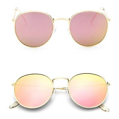 Women Retro Fashion Aviator Mirrored Round Lens Oversized Sunglasses Eye Glasses