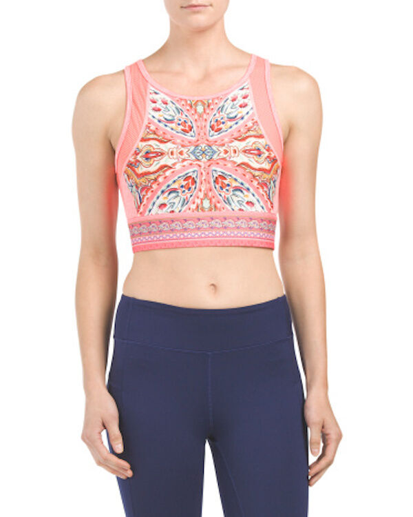 Nanette Lepore Play Carousel Printed Crop Top Workout Sports Top Sz L  58 NWT