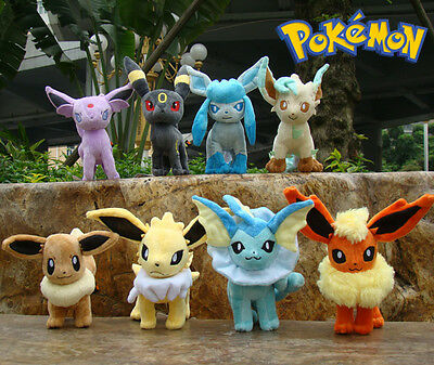 8 Pcs Pokemon Plush Toy Eevee Figures Lovely Soft Nintendo Stuffed Animal Doll
