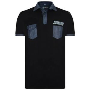 NEW-KAM-MENS-BIG-AND-TALL-2XL-3XL-4XL-5XL-6XL-Black-Short-Sleeve-Polo-T-Shirt