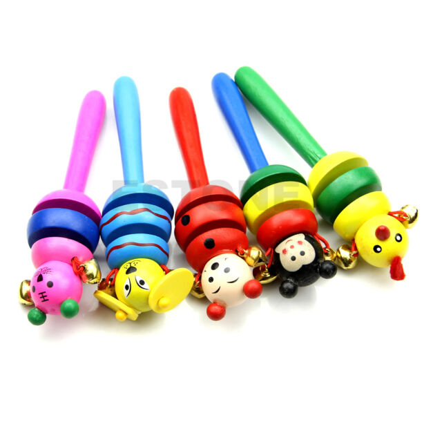 Wooden Creative Jingle Hand Bells Kids Toddler Baby Music Educational Toy Gift