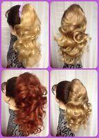 Dmh702 100% Human Hair Clip On Drawstring Layered Ponytail Auburn Mix 27t33