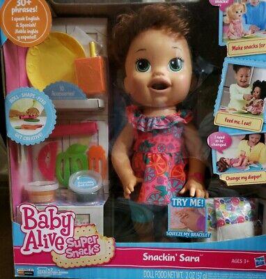 Baby Alive Super Snacks Snackin/' Sara Brunette Doll Officially Licensed NEW