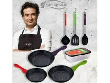 Set 3 sartenes San Ignacio 22, 24 y 26 cm  + set 3 herméticos +  Set utensilio