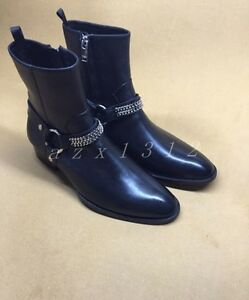 Black Low Satge Toe Men's Leather Pointed Heel Ankle Boots Classic I6Ygyv7bf