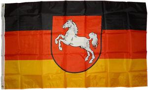 XXL-Flagge-Niedersachsen-90-x-150-cm-mit-Pferd-Fahne-Sturmfahne-Hissflagge