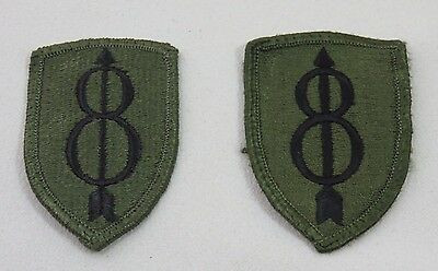 United States Army Military Patch set 8th Infantry Division Green & Black