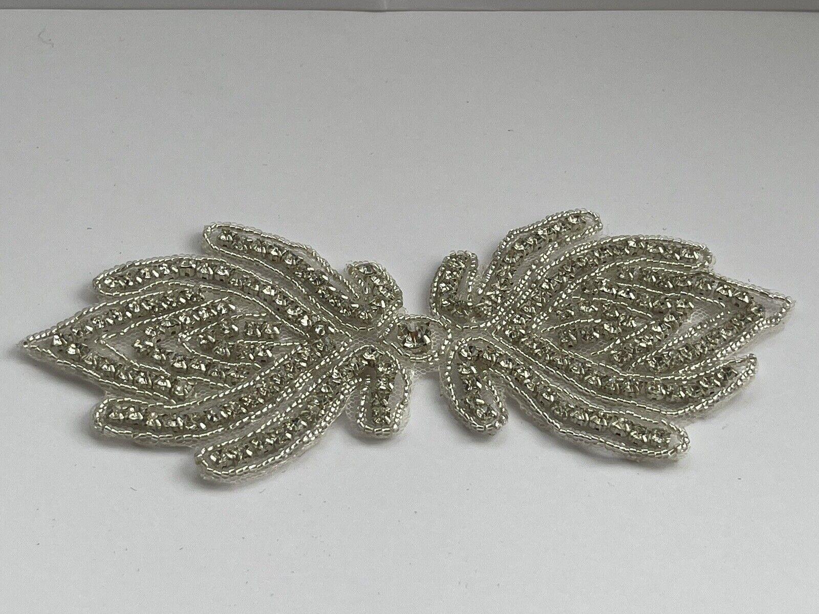Diamante Wedding Accessories Bridal Dress Applique Beaded Motif Trim