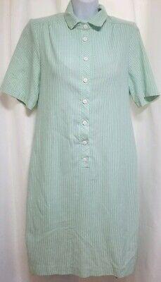 Orvis Seersucker Shirt Dress Green White Striped Button Front Size