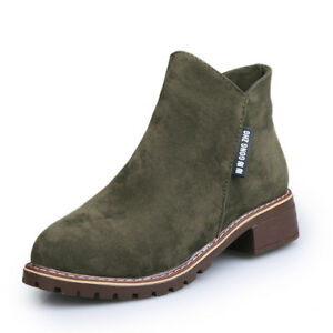 Womens-Flat-Low-Heel-Chelsea-Boots-Ladies-Classic-Suede-Zipper-Ankle-Shoes-4-7