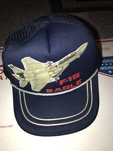 Vintage trucker hat F-15 Eagle Big Logo Mesh String SnapBack Strike ... d9b3451ca1dd