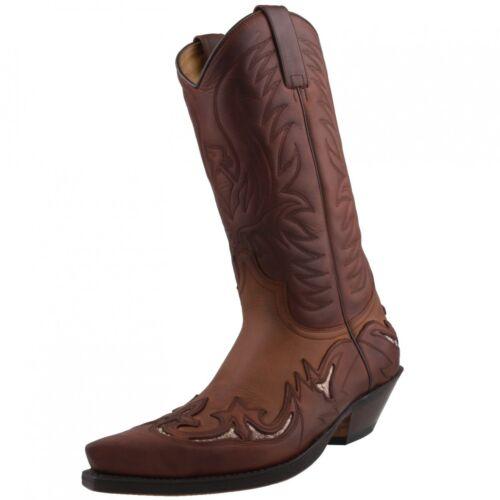 Stivali pelle da in Sendra occidentale motociclista a da fatti mano pelle unisex cowboy marrone in 3242 5xwnRYqU