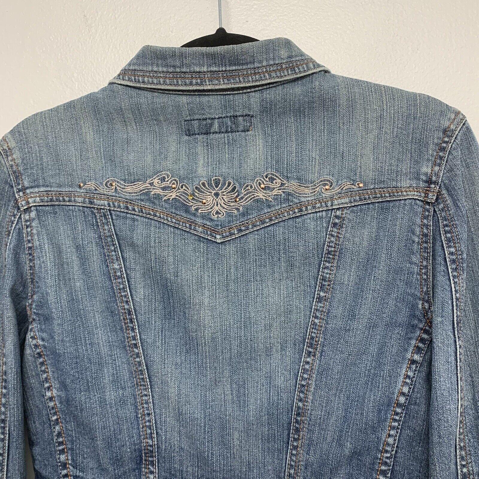 Paris Blue  Woman Crop Jean Jacket  Blue  Embroid… - image 4