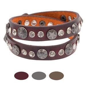 55ef5d601490 Das Bild wird geladen Damen-Glitzer-Armband-Echt-Leder-Wickelarmband -Nieten-Strass