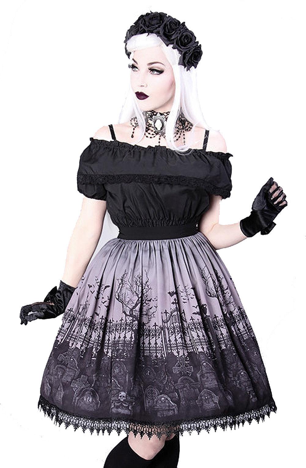 Restyle -  CEMETERY grau SKIRT - Größes S - XXL   Gothic Lolita Skirt
