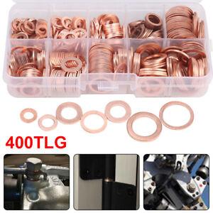 400x-Dichtring-Sortiment-Set-Kupfer-Dichtungen-Ol-Kupferringe-Kupferscheiben-Box
