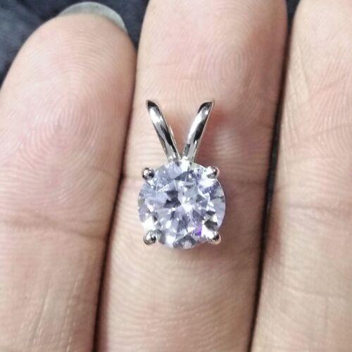 Superb 10K White Gold 2.25 CT White Round Diamond Cut Moissanite Pendant