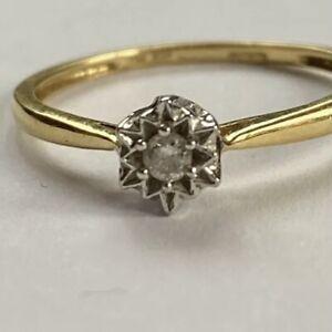 Vintage 18ct Gold Diamond DIA Solitaire Ring Engagement Size M Not Scrap